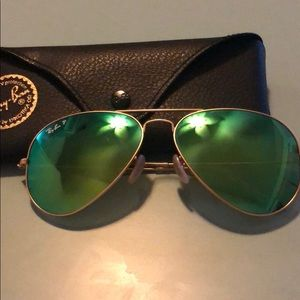 Gold frame Ray Ban aviators w/ green mirror lenses